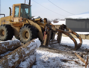 Log loader - A front end loader is used to move rough cut logs.