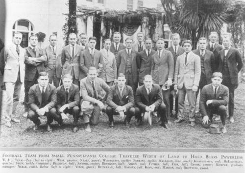 """1922 W&J TOURNAMENT OF ROSES TEAM     """"Football team from small Pennsylvania college traveled width of land to hold Bears powerless""""    W. & J. Team - Top (left to right): WEST, quarter; NEALE, guard; WIDERQUIST, tackle; PERKINS, tackle; KELLISON, line coach; KONVOLINKA, end; MCLAUGHLIN, quarter; STEIN, tackle (captain); BRICKSON, half; SNYDER, center; BRENKERT, half; AIKEN, end; FUTHEY, full; VICK, full; CROOK, center; MURPHY, graduate manager; NEALE, coach. Below (left to right): VINCE, guard; BUCHANAN, half; BASISTA, full; KOPF, end; MARION, end; BROWNING, guard."""