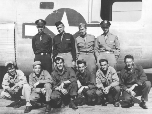 CREW OF MISS MANDY   Top (left to right)   BEHRENS - CULBERTSON - DONNAN - HARMS   Bottom (left to right)   DELEON - TRICHEL - GILLARD - WALTON - JOHNSON – EDWARDS   Pilot -  Rae Behrens   Co-Pilot -  Kent Culbertson   Bombardier -  Howard Harms   Navigator -  Dave Donnan   Engineer -  Bob Walton   Radio/Upper Turret -  Sosthene Trichel   Ball Turret Gunner -  John Gillard   Waist Gunner -  Danny DeLeon   Tail Gunner -  Vernon Johnson   Nose Gunner -  Bob Edwards