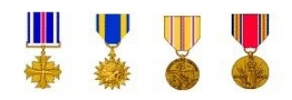 AWARDS   (left to right)     Distinguished Flying Cross Air Medal w/ 1 Oak Leaf Cluster Asiatic-Pacific Campaign w/ 3 Battle Stars World War Two Victory Medal