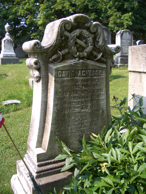 David Acheson's final resting place in Washington Cemetery, Washington, Pa.