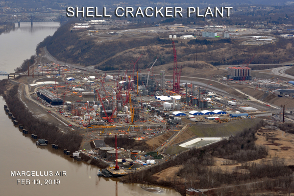 """The Shell Cracker Plant under construction in Monaca, Beaver County, Pennsylvania, will """"crack"""" ethane from Marcellus shale and Utica shale gas production in the Pennsylvania, Ohio, West Virginia tri-state into plastic """"nurdles."""""""
