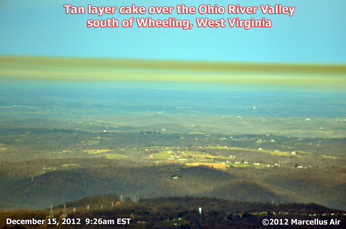 """Pittsburgh and the Ohio River Valley suffer from ongoing air pollution problems, with Pittsburgh recently receiving an """"F"""" (failing grade). A second cracker plant is under final consideration for the area just south of Wheeling, West Virginia, seen in the photo above. The hills and valleys of the Wheeling / Pittsburgh tri-state area trap air pollution."""