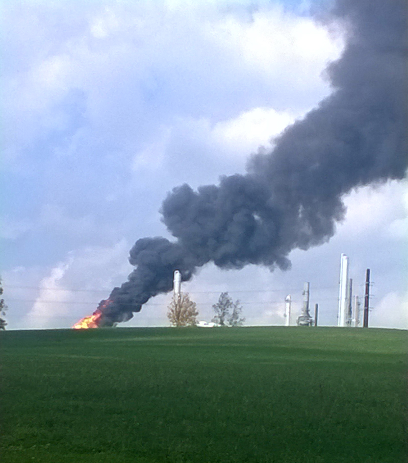October 2, 2013 - The Houston, Pennsylvania MarkWest gas plant during another one of its major air pollution events, while trying to get their de-ethanizer working properly. Fines were eventually imposed on this plant and others. This huge cryogenic plant is 3 miles upwind from the Canon MacMillan high school where a large number of cancers have appeared over the past 10 years.  VIDEO