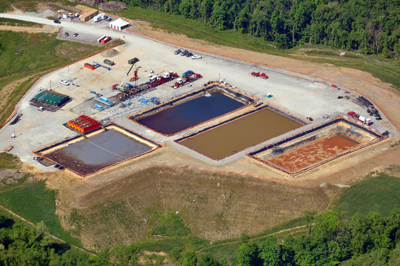 """""""THE PITS NEAR PITTSBURGH""""   Massive volumes of water are destroyed by fracking, first with additives that can be carcinogenic and are often endocrine disruptors, then by the salts, heavy metals, and radioactive elements carried back up from the deep shale in flowback. Frackers are having a hard time getting rid of it all."""