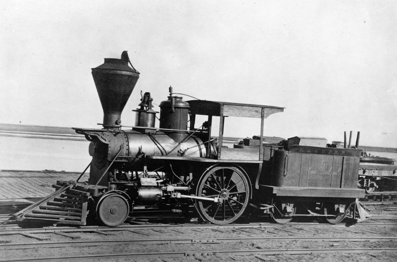 "View of locomotive ""San Gabriel"", the pioneer locomotive of Los Angeles County. It landed at Wilmington Harbor in December of 1868."