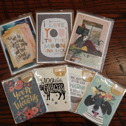 "GREETING CARDS - From birthdays to ""just because,"" we have a variety of greeting cards for your favorite book lovers!"