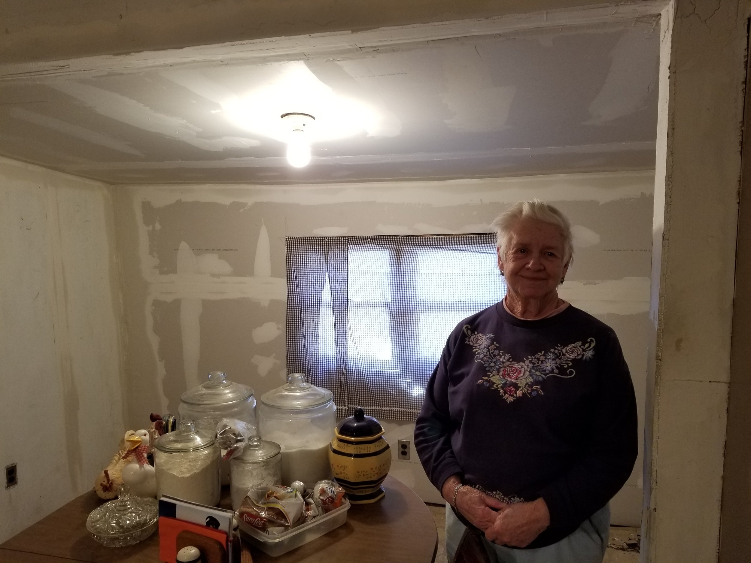 Marie, a widower in her eighties, had a roof leak that was fixed and the drywall inside the house was also repaired.