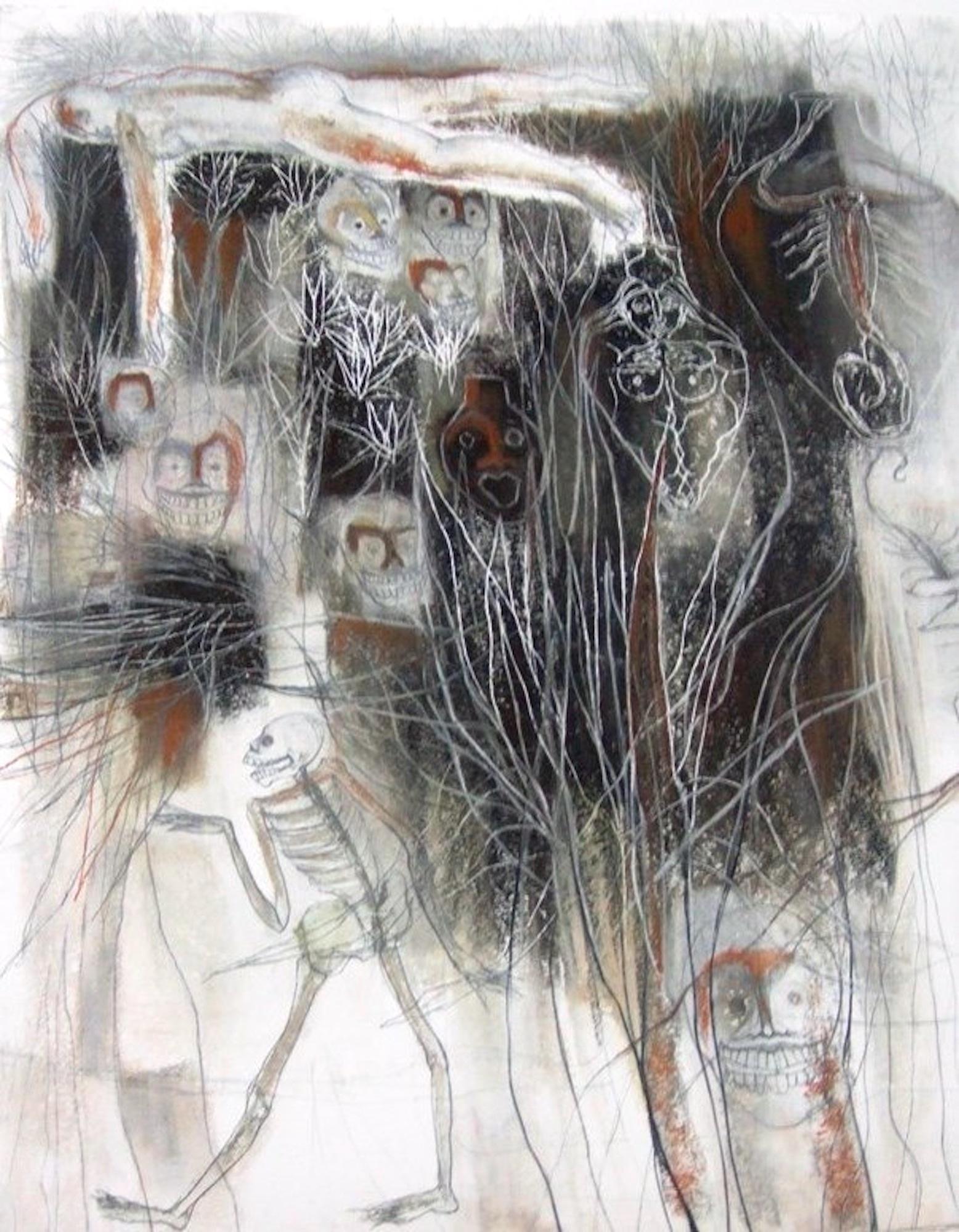 Magueyes V con calaca. Mixta sobre papel Stonehenge esgrafiado, 76X57cm.JPG