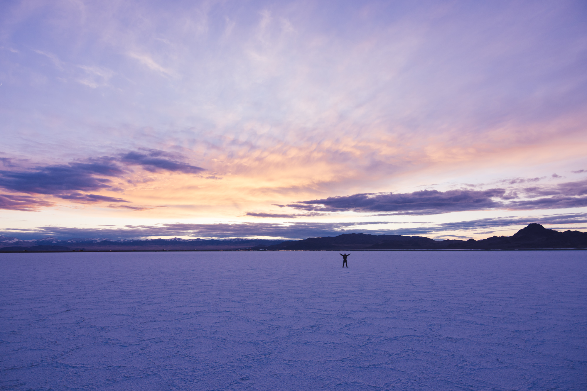 tfw u skip a national park and drive 9 hours through a blizzard but manage to make it to the bonneville salt flats before the sun sets