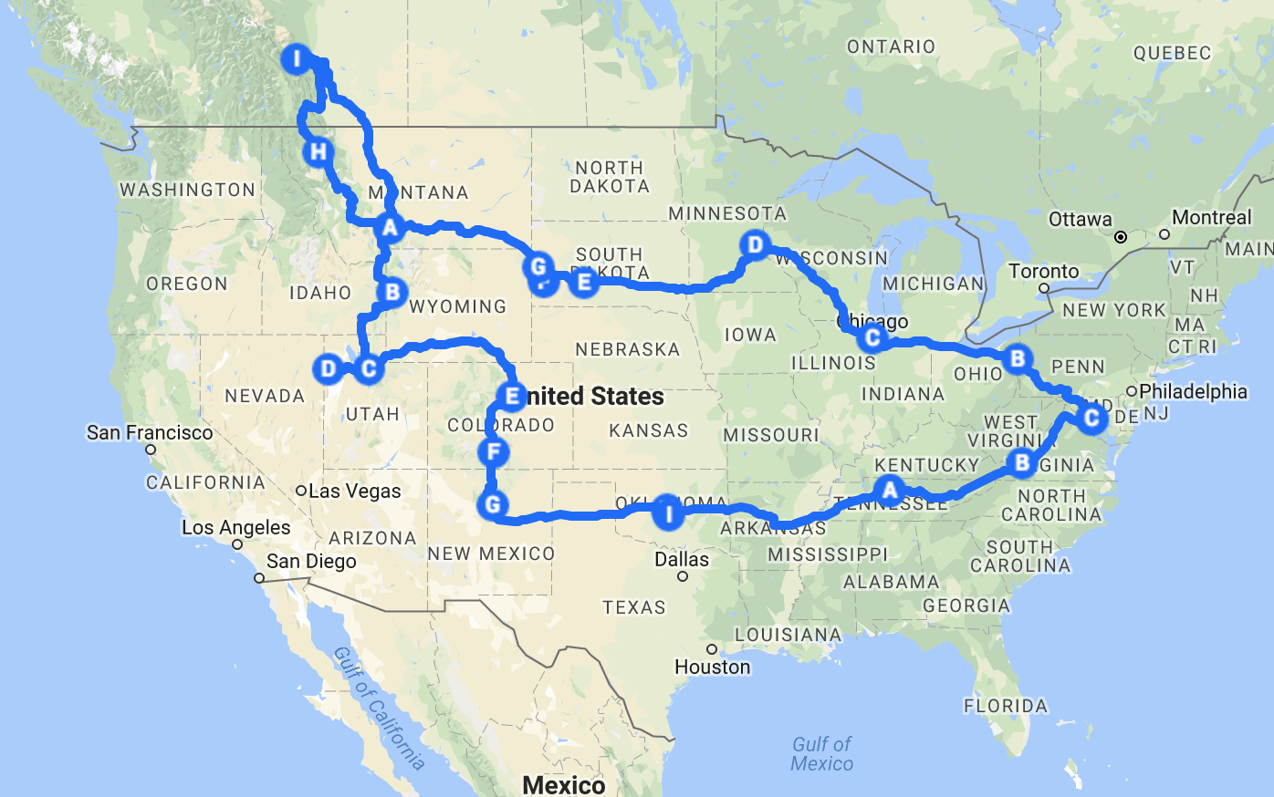 our custom google maps road trip map for #CanuckIfYouBuck 2017