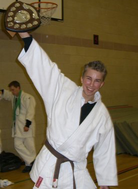 A teenage Gabriel after a Judo competition