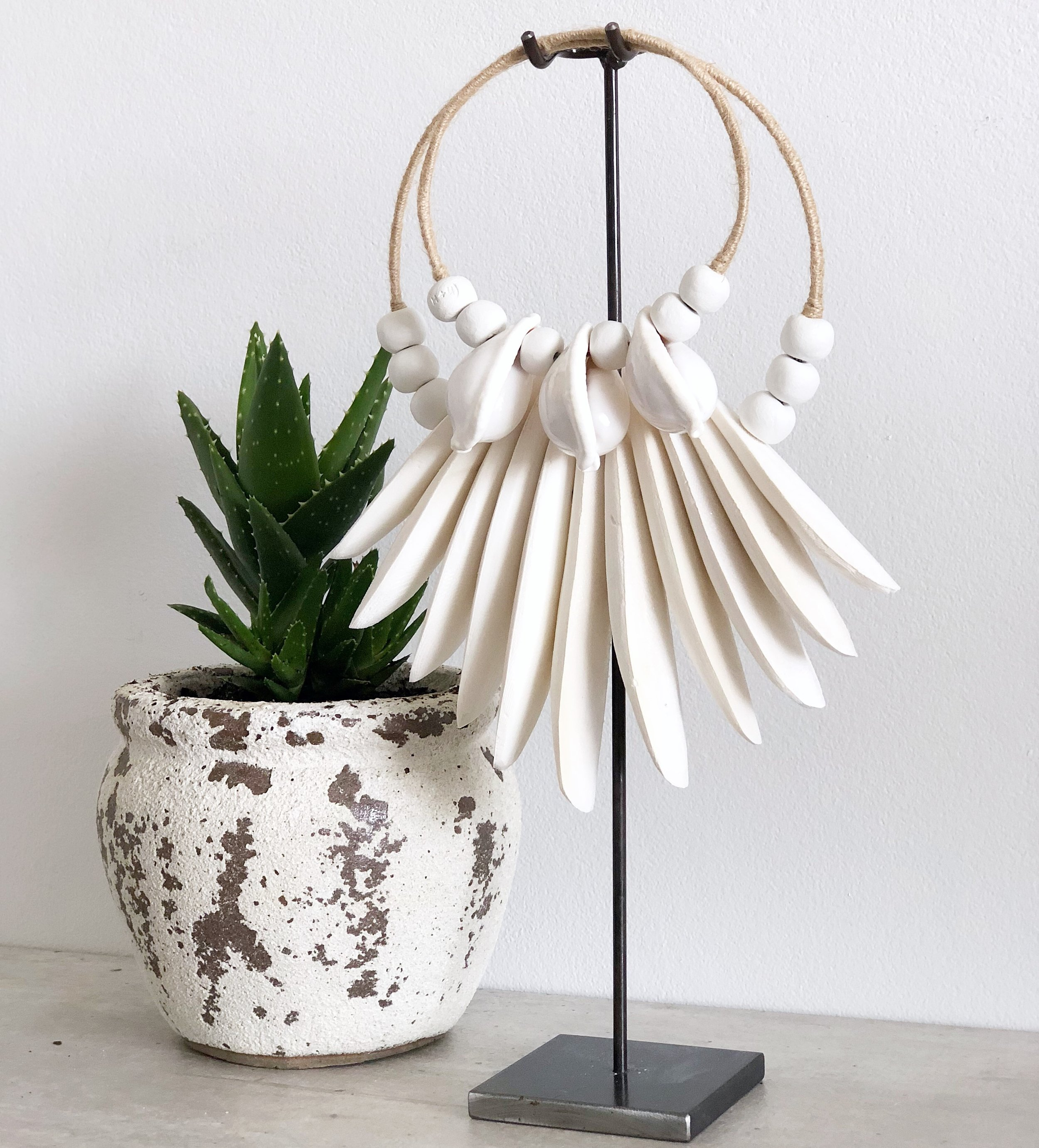 Cuttle + Cowrie Natural on 45cm raw metal stand