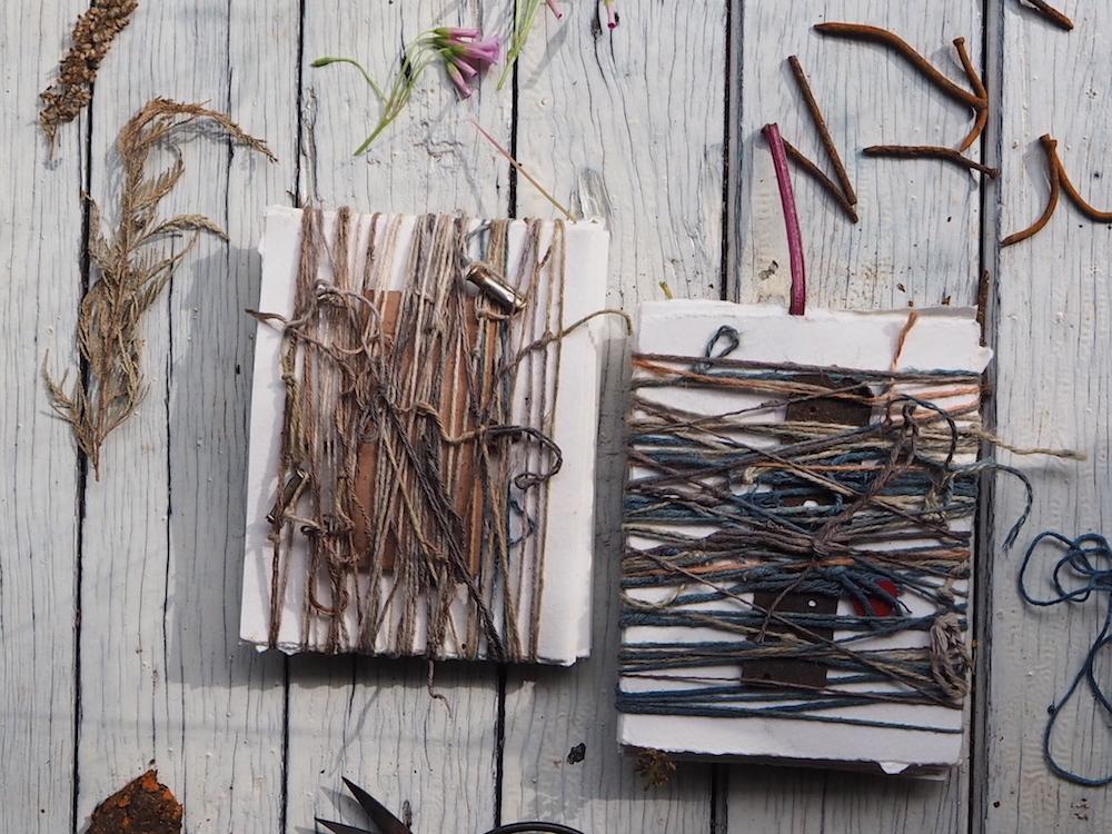 Ellie Beck petalplum natural dye on paper eco print botanical dyeing string wrapping shibori how to make an art journal.JPG