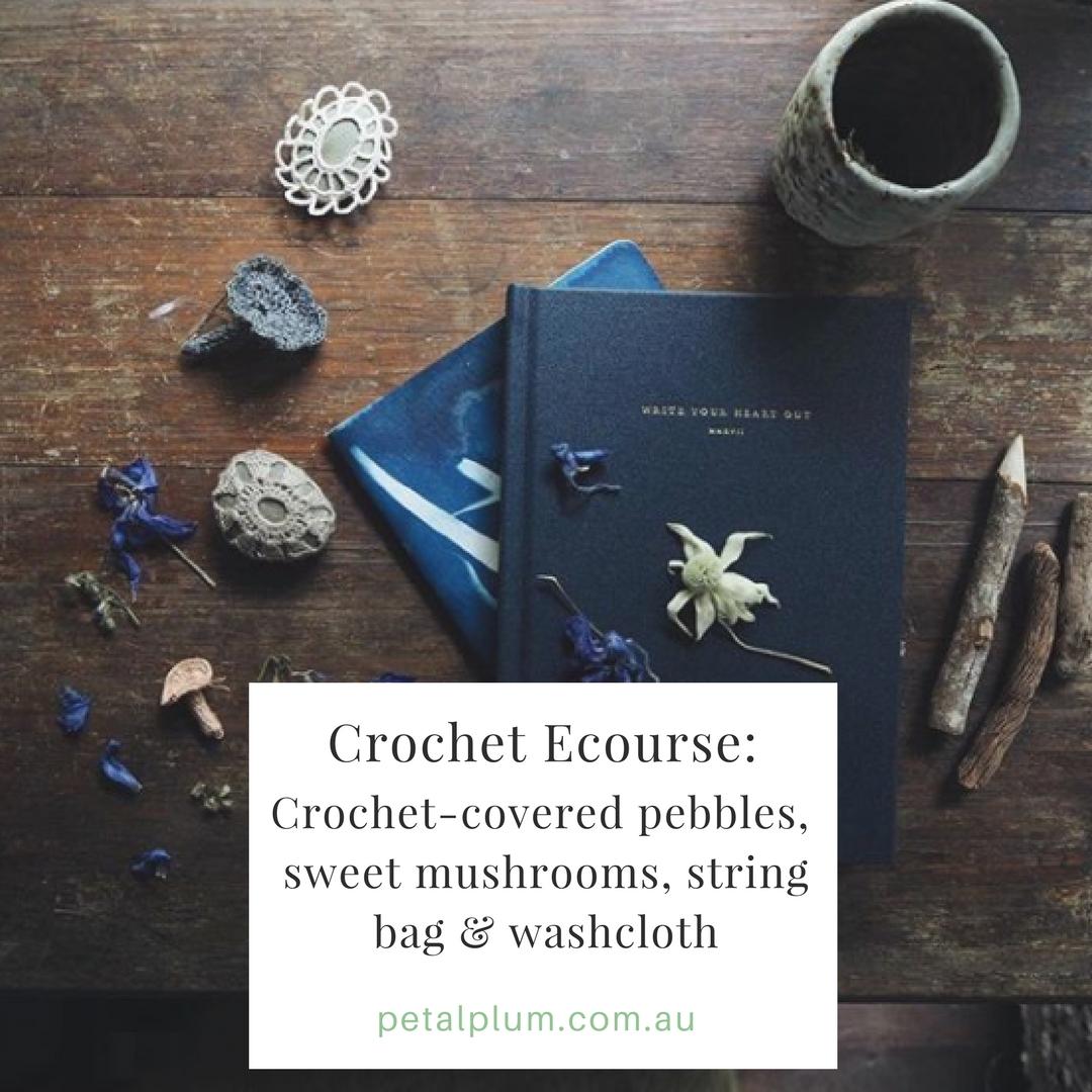 Crochet ~ pebbles, string bag, washcloth & mushrooms : $25AU -