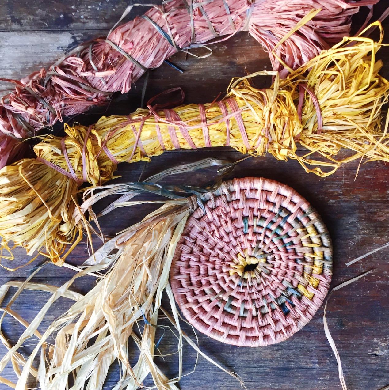 Ellie Beck raffia basket natural dye watercolour hues - craft as therapy716FFDDB-1EDA-4A41-8337-B4F71228E619.JPG