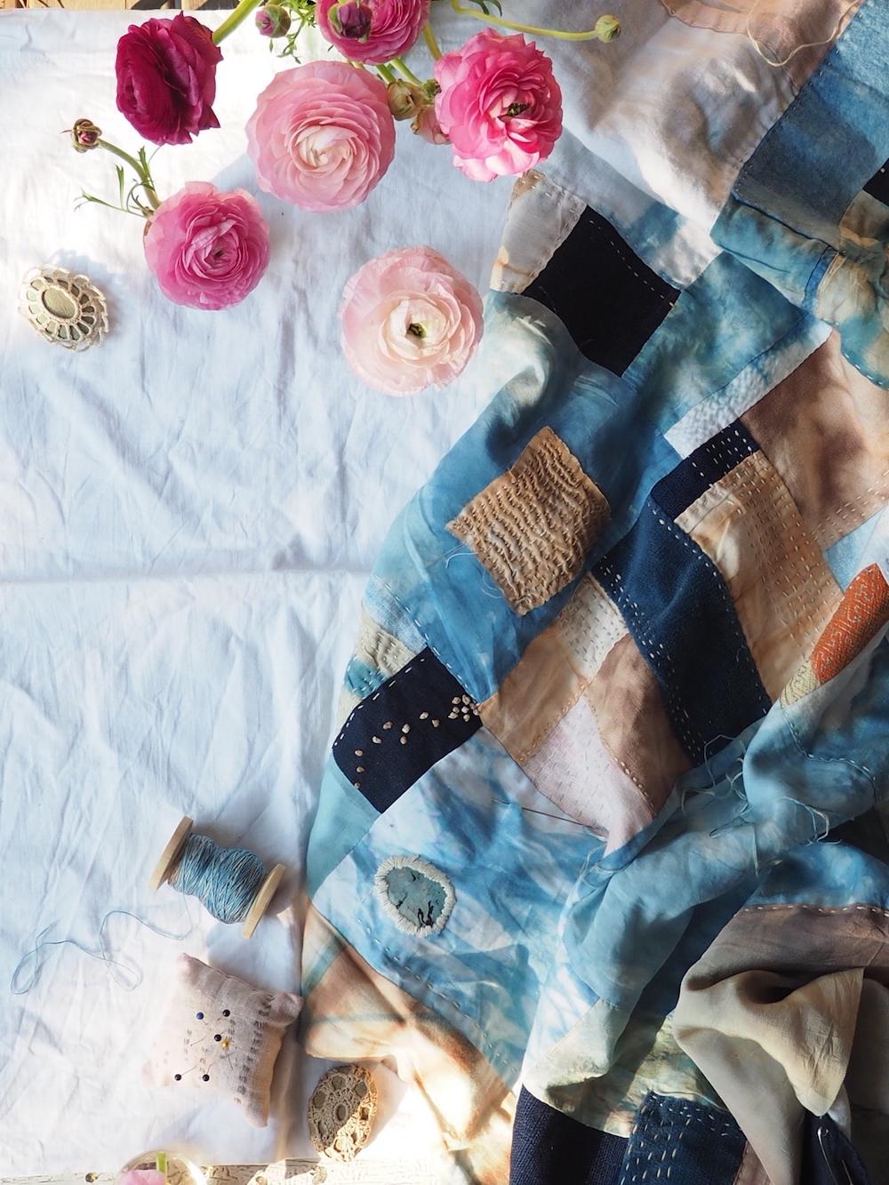 Hand dyed fabric hand stitched quilt. Naturally and botanically dyed, kimono fabric, hemp, silk, cotton, linen. Sashiko, boro, kantha. Slow Stitch, Mindful Mending. The Fearless Quilt by Ellie Beck Petalplum.jpeg