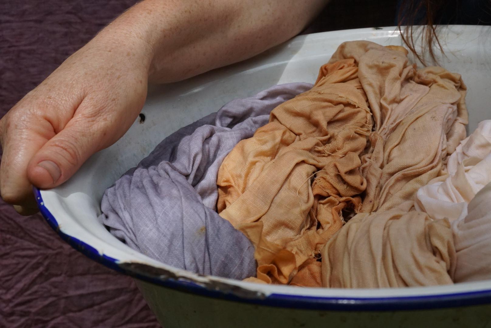 Naturally dyed fabric with hand. Purple orange. By Ellie Beck Petalplum