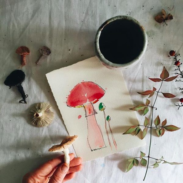 Ellie Beck Petalplum - mushroom hand illustrated water colour, tea cup and with little foraged  foliage and mushrooms