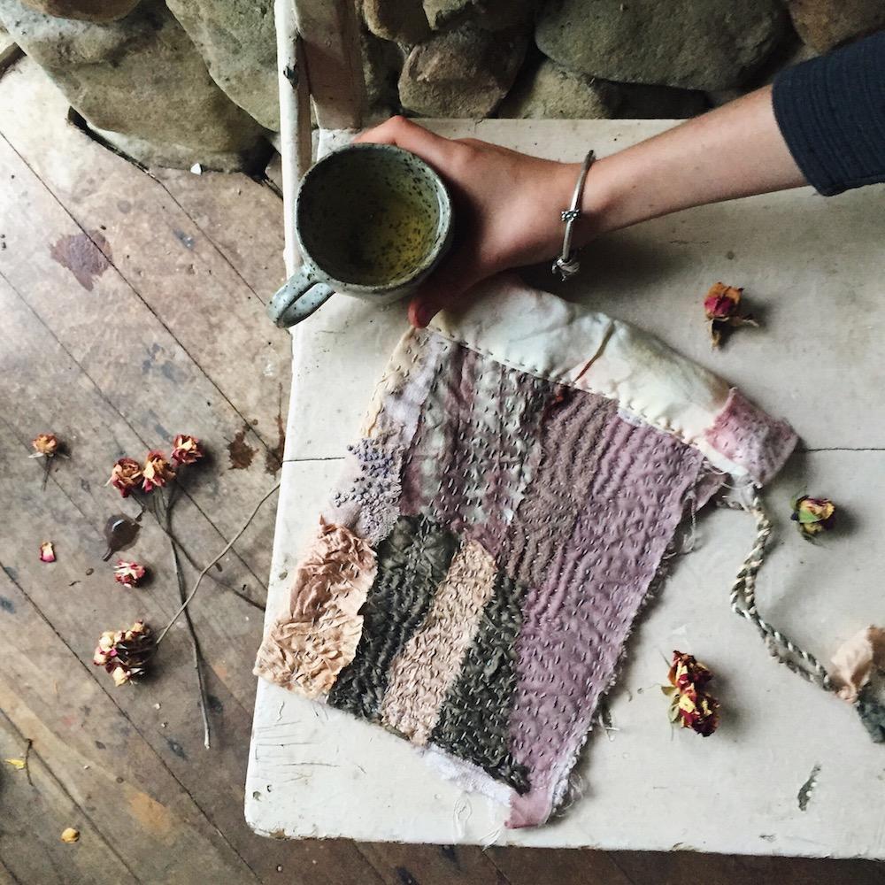 Ellie Beck Petalplum blog - slow stitch hand stitched fabric pouch. Boro Kantha Sashiko style