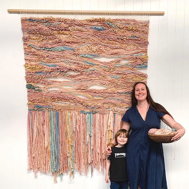 It's been a week since I packed this piece up and sent it off to its new owners. Woah! This is the biggest weave I've ever created and golly did it take some hours (more than 100, including naturally dyeing all the yarn myself). ⠀ ⠀ The stories in this wall hanging are about different people coming together. How we all have our own textures, hues, pasts, yet how we can be in the space and connect, share, join together. What happens when many people brings themselves to the space, and when we allow each other to speak their stories without it meaning our own stories are being overlooked or not important enough.⠀ ⠀ Or otherwise it's just some pretty yarn threaded through some warp strings 🤪😳⠀ ⠀ My husband @deadwoodcreative made me a custom sized loom. I used Australian cotton from @string_harvest as my warp. And Australian wool from @mollydale_yarns, with some small sections of vintage kimono silk as well. ⠀ ⠀ Natural dyes are : indigo, madder, loquat leaves, avocado seeds, golden rod flowers, brown onion skins. ⠀ ⠀ ** This little boy was a bit sad I sent this weave away, and asked me to make one for him.... it sure makes me happy when my family loves what I create 💓