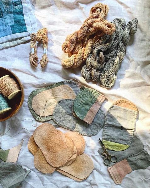 Ellie Beck Petalplum slow stitch naturally dyed needle cases