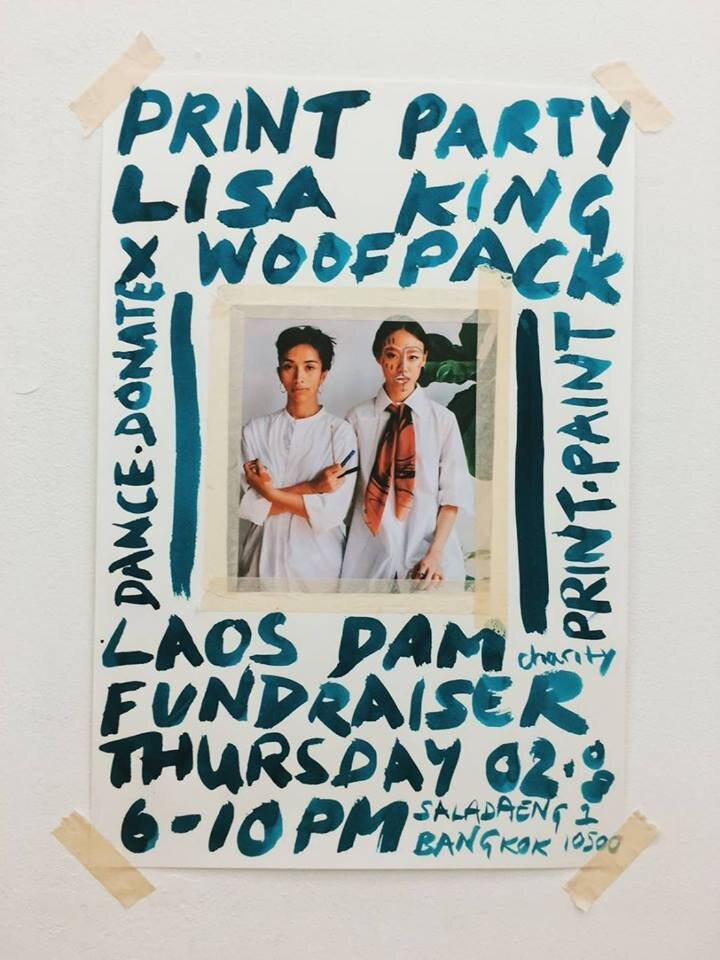 Join London based designer + artist Lisa King + Woofpack for a Print Party in aid of the Laos Dam relief fund. Come print, paint, dance and donate - make custom jumpsuit, totes and art prints.
