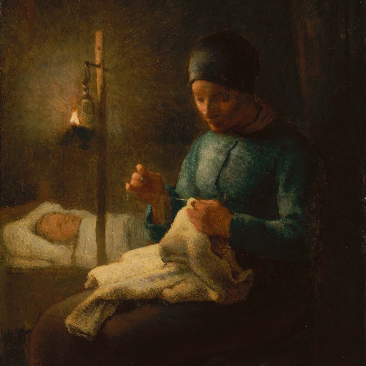 Image:    Woman Sewing Beside Her Sleeping Child by  Jean-François Millet