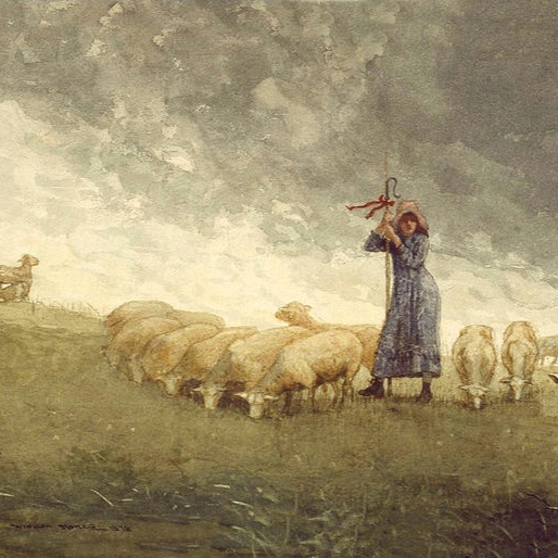 Image:     Shepherdess Tending Sheep by Winslow Homer