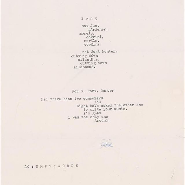 A couple of mesostics from John Cage's Empty Words: Writings '73-'78 on view until May 10th.