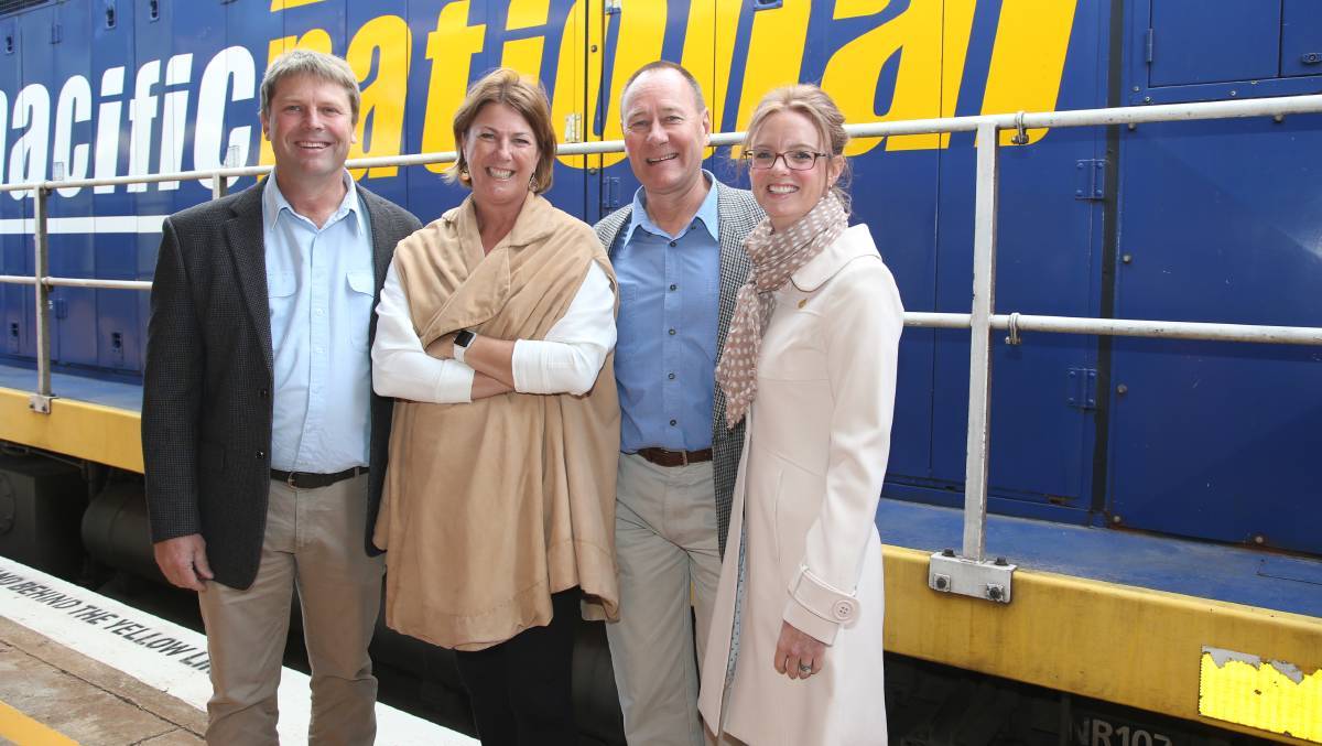 Left to Right: Member for Murray Austin Evans, NSW Minister for Roads, Maritime and Freight Melinda Pavey, Junee mayor Neil Smith and Member for Cootamundra Steph Cooke.  Photo: Anthony Stipo