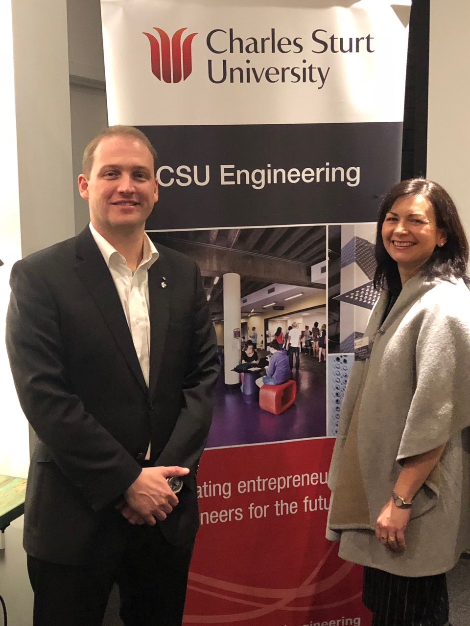 Pictured here is Professor Euan Lindsay Director of CSU Engineering and Director of Regional Development for RDA Riverina, Rachel Whiting at the dinner.