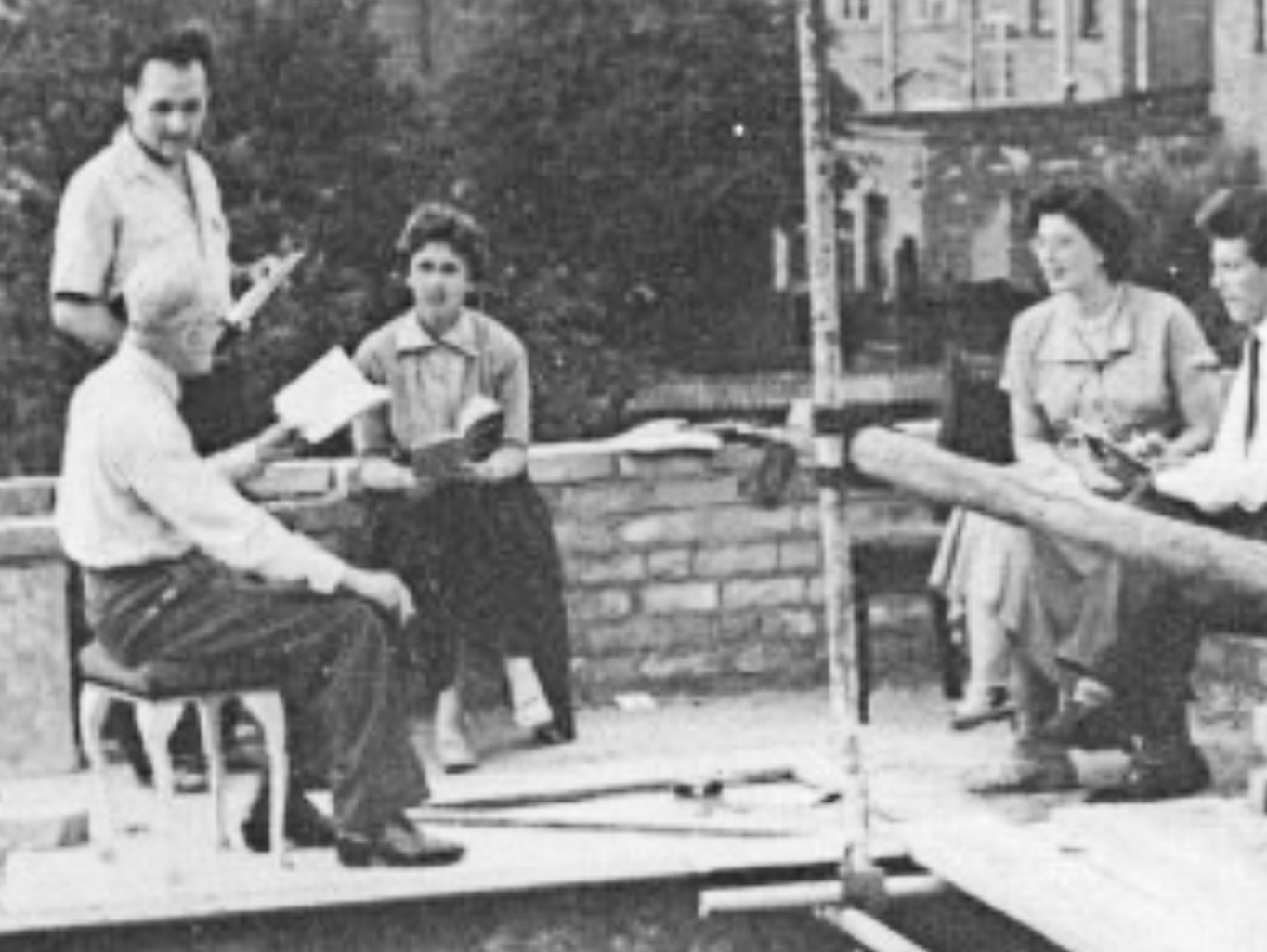 Original members of HGLT rehearsing whilst building the theatre in 1950