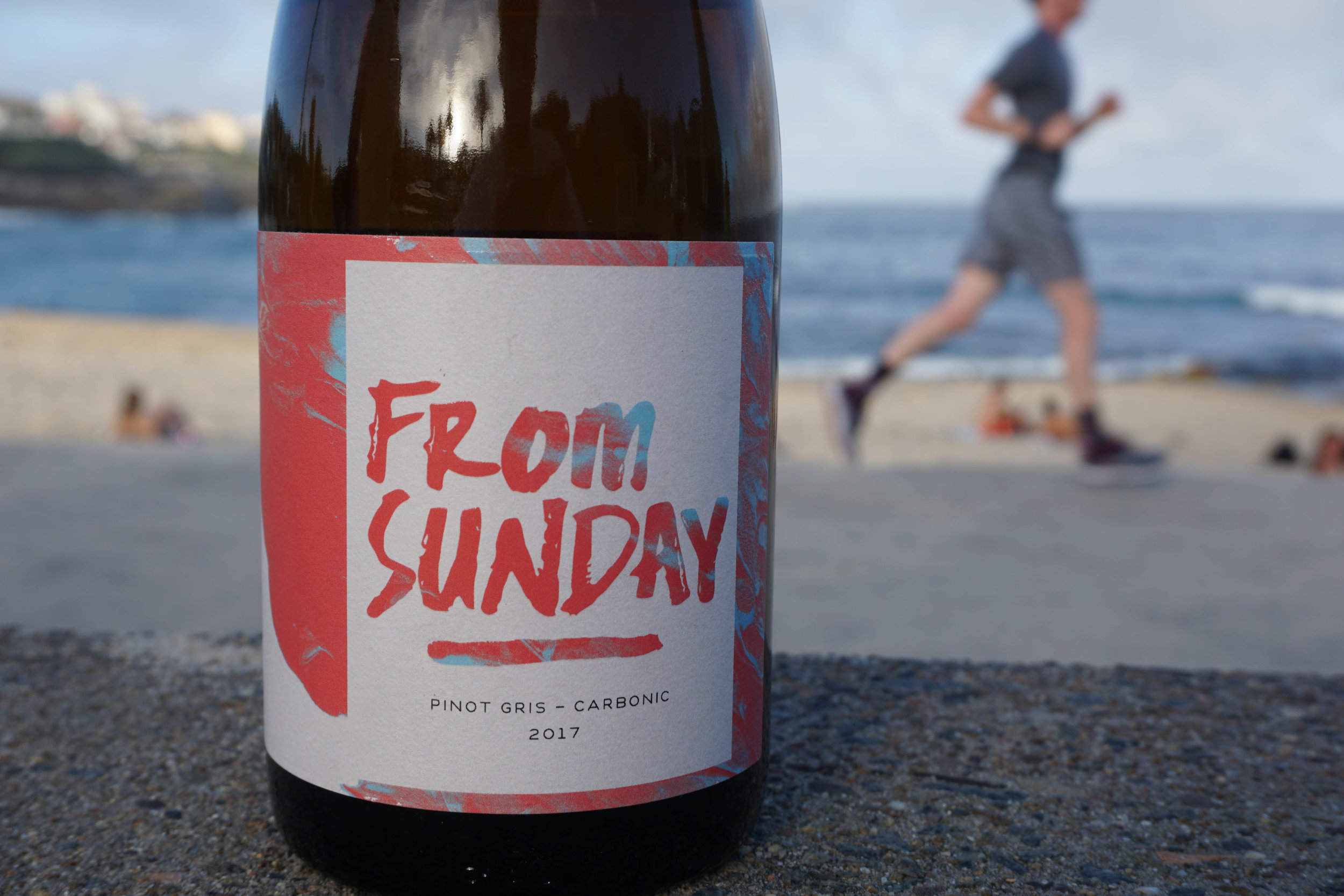 2017 From Sunday Carbonic Pinot Gris  Organic Practices  Sourced from the ancient volcanic soils of Mount Canobolas at 950m elevation.   Hand harvested Pinot Gris goes through carbonic maceration for 7 days before being basket pressed to stainless to go a further 2-3 weeks of primary fermentation. Unfined, unfiltered and 75ppm only at bottling.