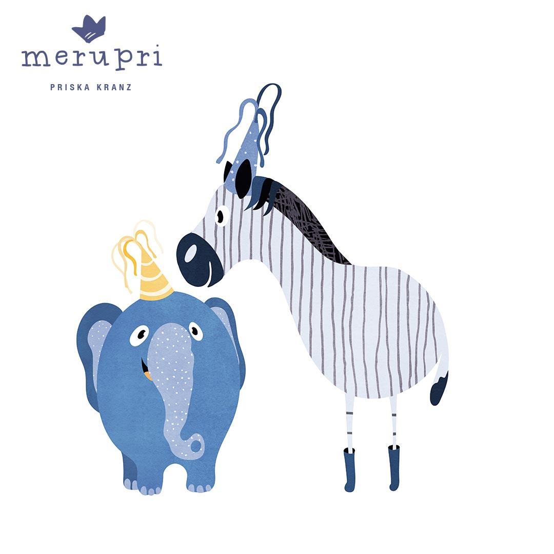 "Poster  ""Elephant with Zebra"""