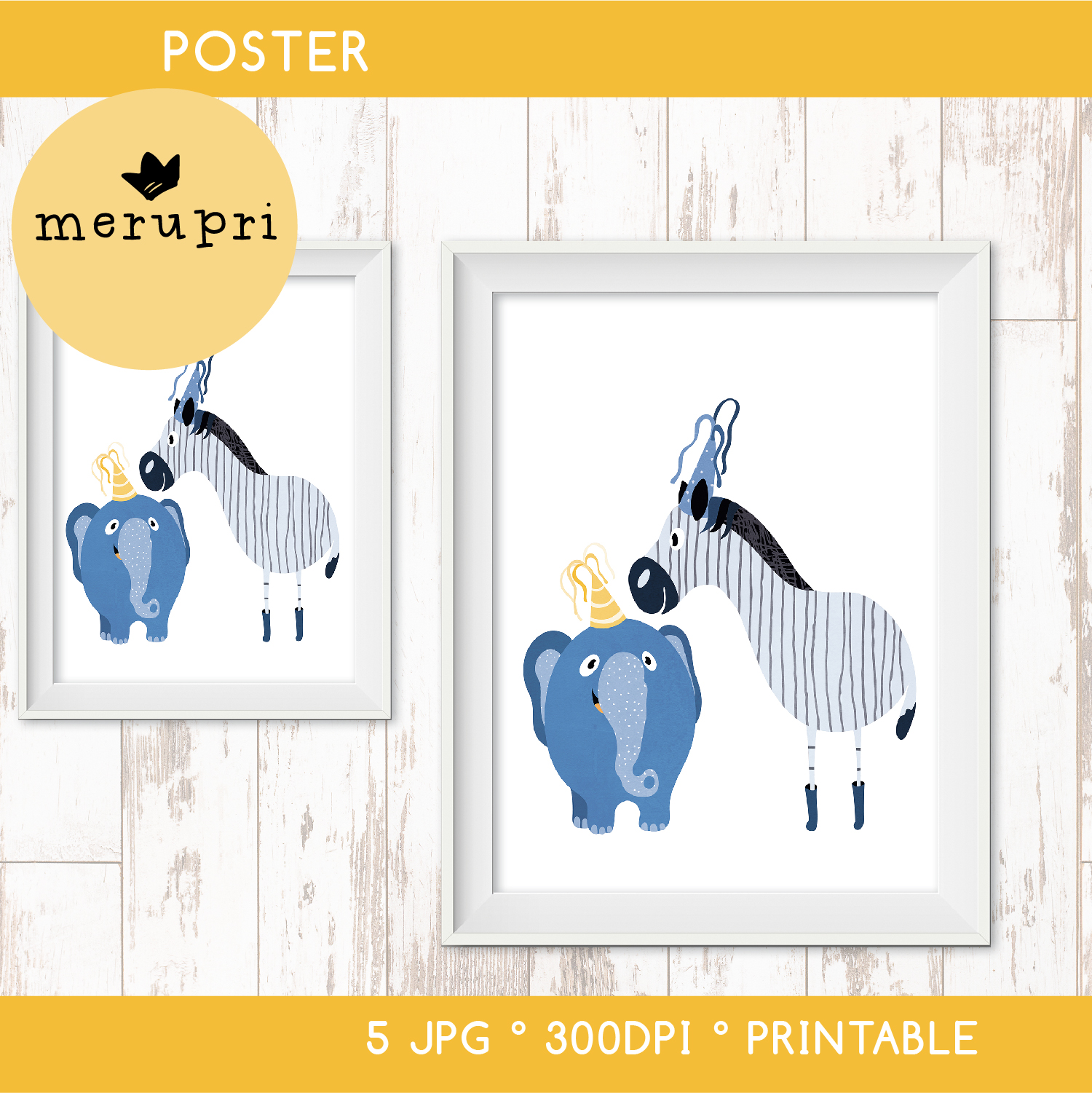 "Poster ""Zebra with Elephant"""