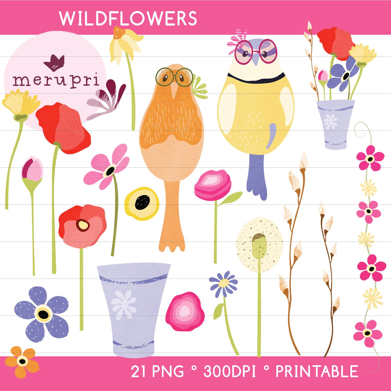 "Clip Art Set ""Wildflowers"""