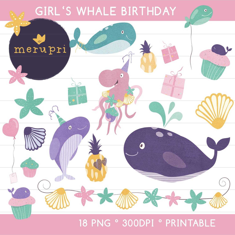 "Clip Art Set ""Girl's Whale Birthday"""