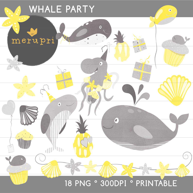 """Clip Art Set """"Whale Party"""""""