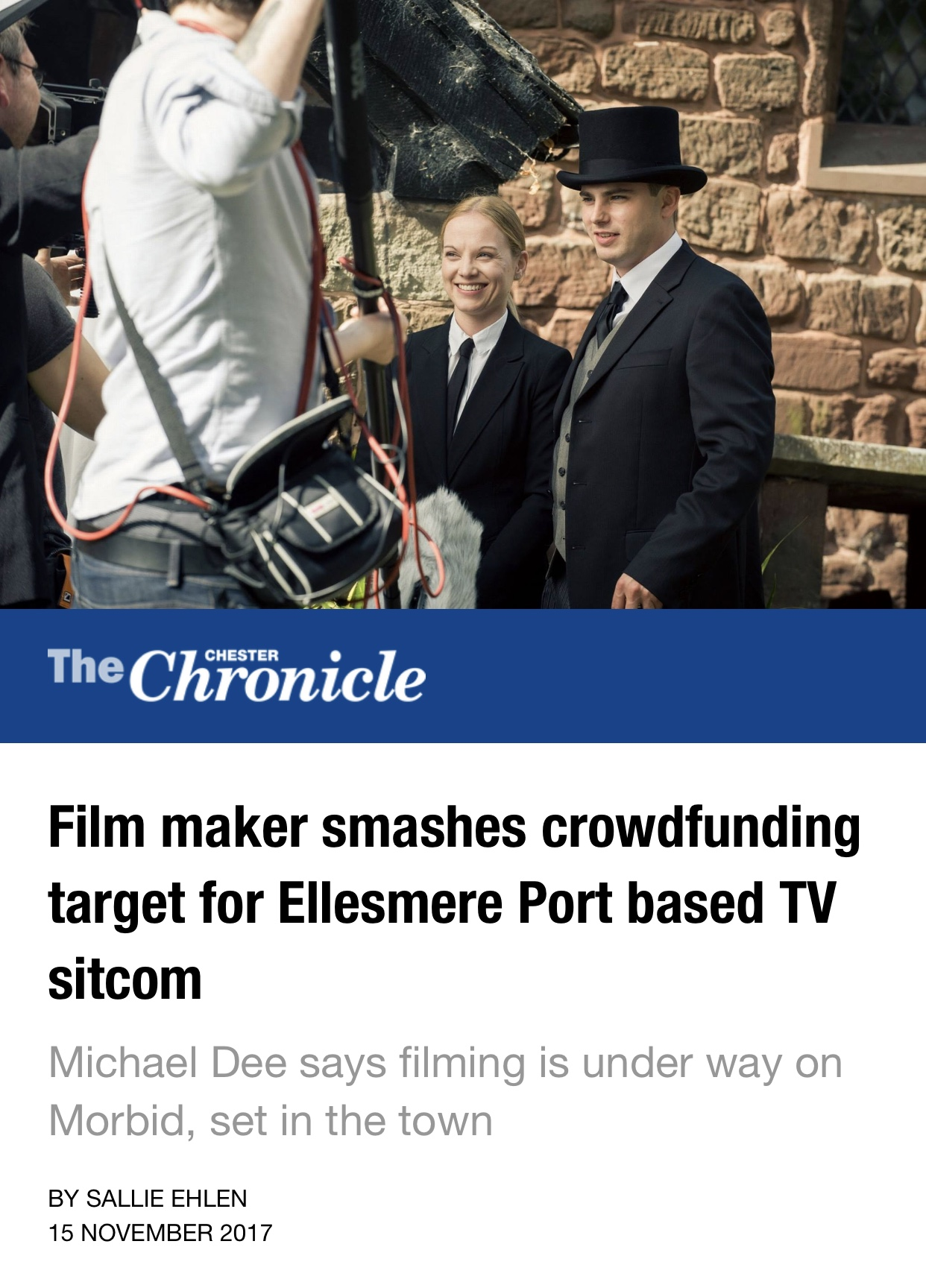Independent Sitcom, Morbid hits local papers. Full article below.     http://www.chesterchronicle.co.uk/whats-on/film-news/film-maker-smashes-crowdfunding-target-13902757