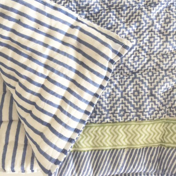 Blue and lime hand-block printed quilt