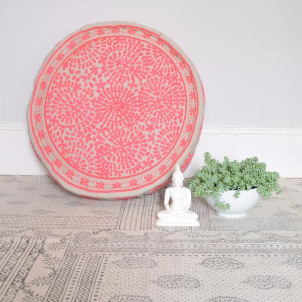 Pink embroidered linen pouffe