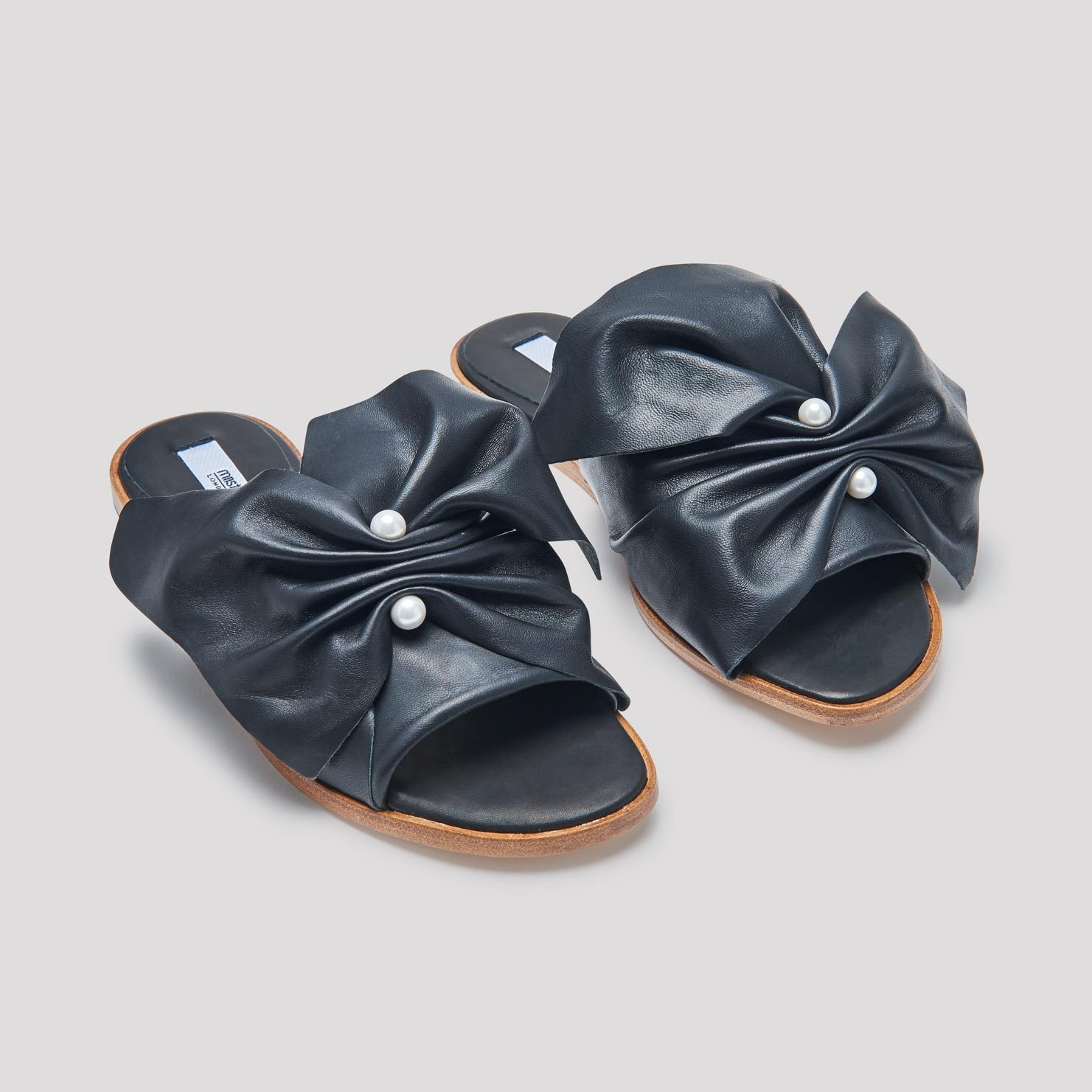 Miista Carina Black Leather Sandals
