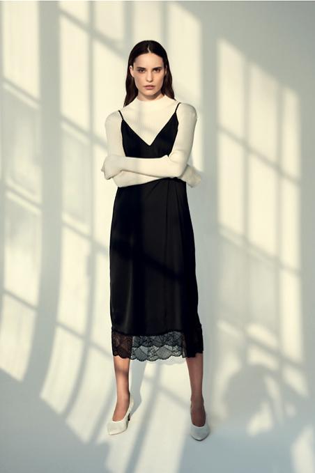 Vero Moda Black Lace Trimmed Recycle Slip Dress