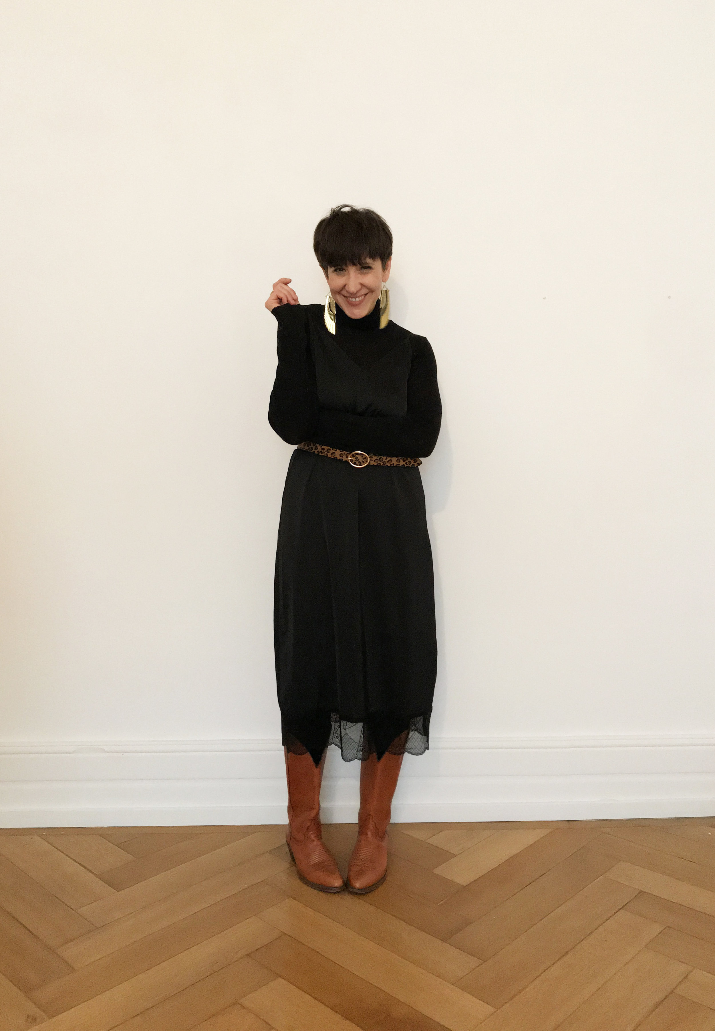Belt and Boots - styled withCOS Roll Neck, Zara Belt, Vintage Boots, Rosita Bonita Earrings