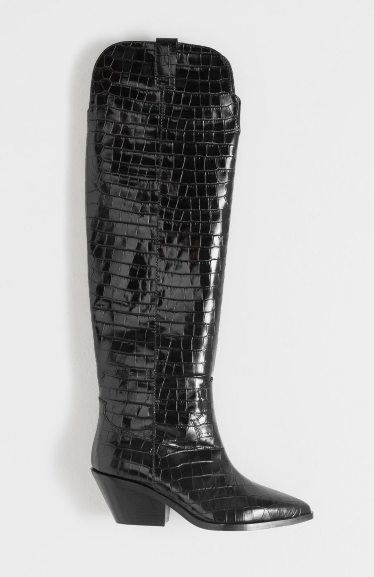 & Other Stories Patent Croc Knee High Cowboy Boots