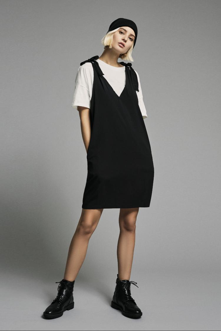 BLACK SHOULDER TIE DUNGAREE DRESS