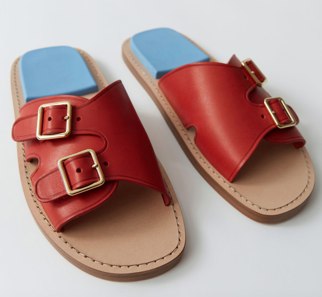 Acne Red Leather Sandals