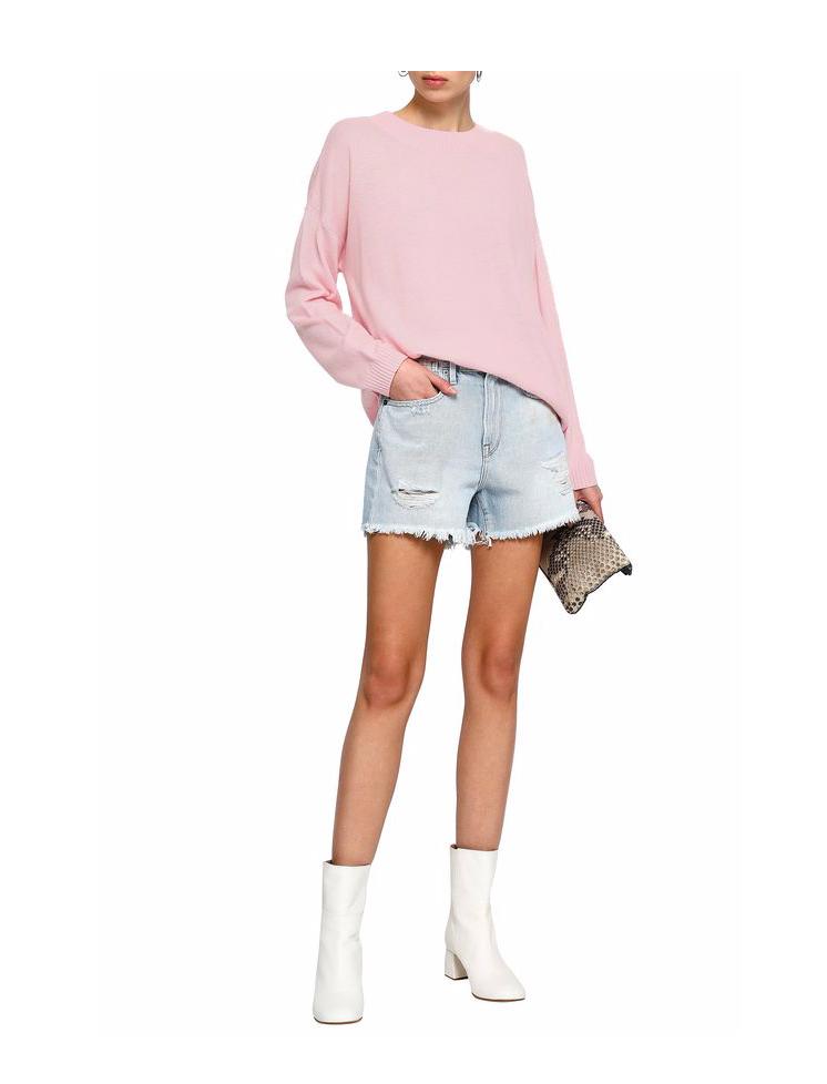FRAME Stevie distressed denim shorts