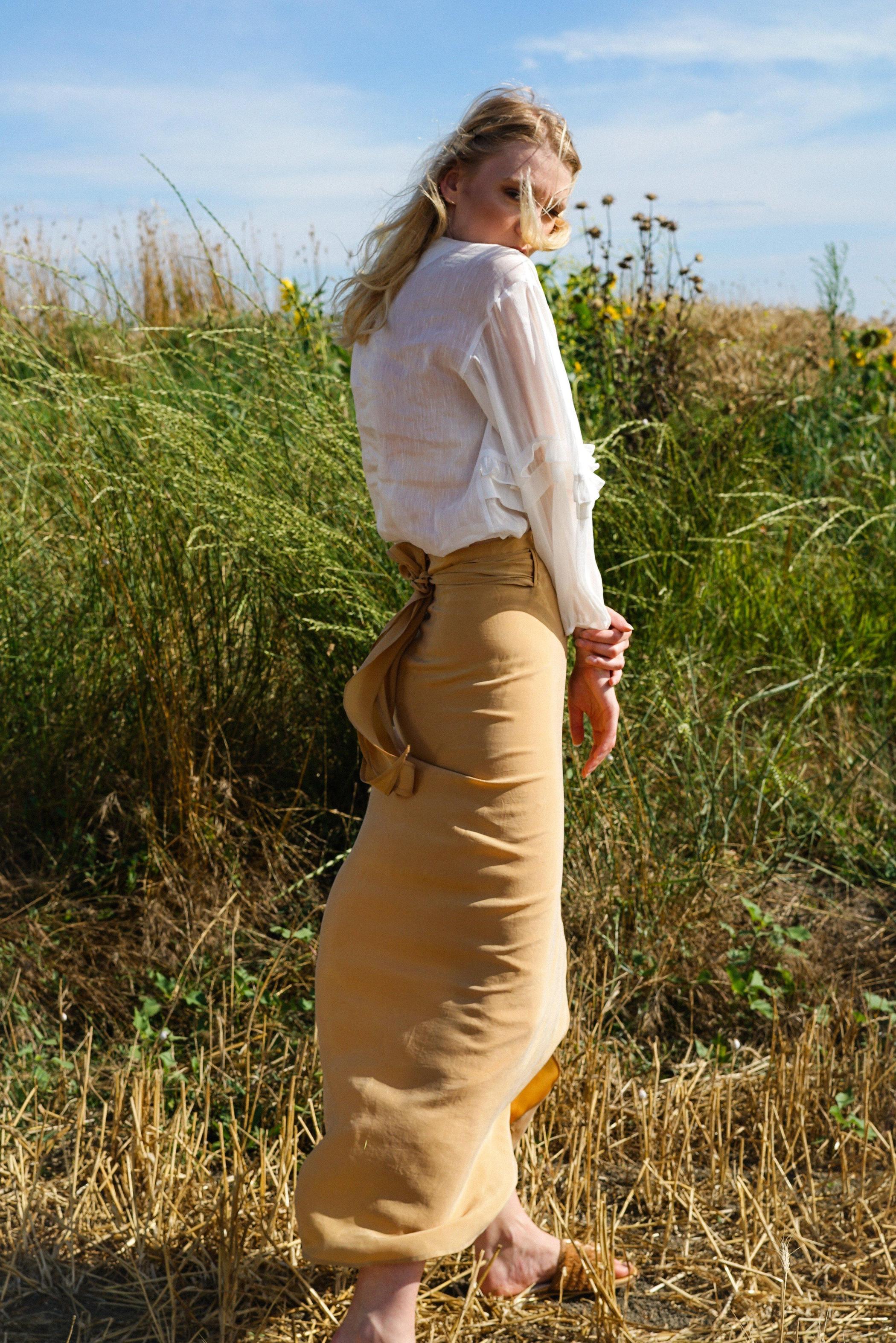Rahka Wrap Beige Skirt